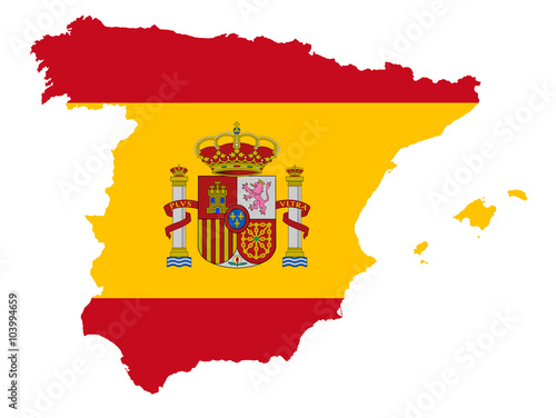 Canvas Print Spain map with flag vector illustration