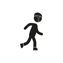 Roller Skating Silhouettes Vector Icon Stick Figure