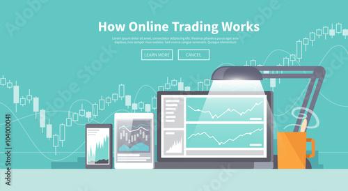 Fotografie, Obraz  Stock exchange trading of web banners
