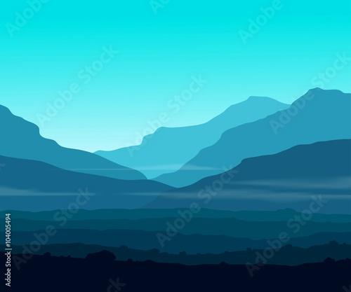 Papiers peints Turquoise Landscape with huge blue mountains