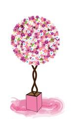 NaklejkaÁrbol de flores en maceta.