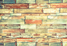 Horizontal Frame Of Psychedelic Colorful Brick Wall Background