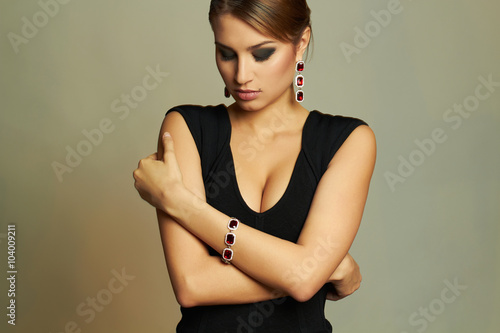 Young Beautiful Sexy Woman In Jewelry Beauty Girl With Short Hair