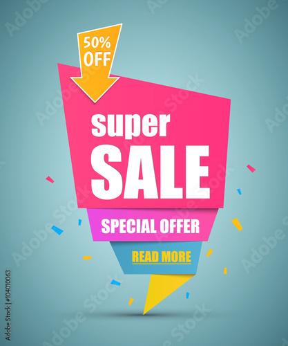 Fotografía  Super Sale paper banner.  Vector illustration