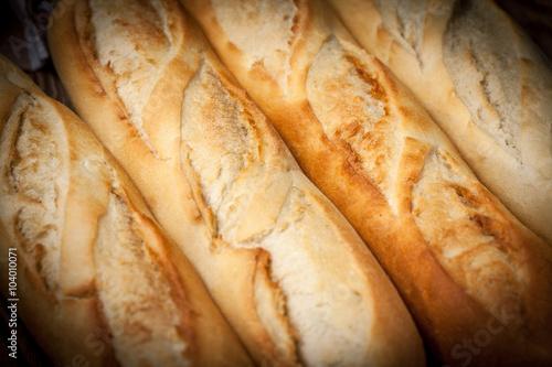 Fotografie, Obraz  French baguette. Top view.