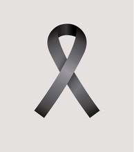 Black Ribbon, Condolence Icon Over Gray Color Background