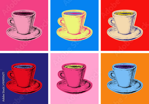 Fotografie, Obraz set of coffee mug vector illustration pop art style