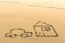Car And A House Drawn On The S...