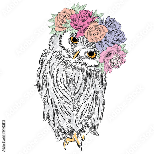 Keuken foto achterwand Uilen cartoon Cute owl in a wreath of flowers. Bird painted in the vector.