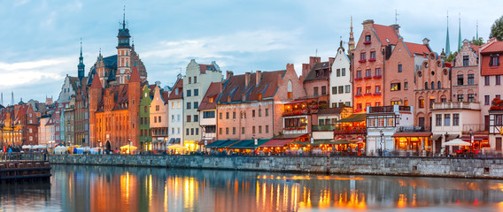 Panorama of Old Town of Gdansk, Dlugie Pobrzeze and Motlawa River in night, Poland