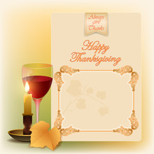 Holidays, Vintage, Graphic Background With Glass Of Wine, Vine Leave In Autumn Color Tones, Candle Light And A Branch Of The Vine For Celebration Of Thanksgiving Day