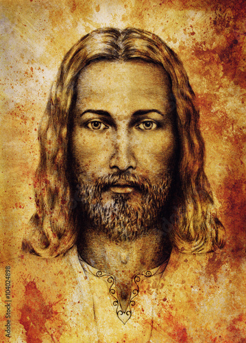 pencils drawing of Jesus on vintage paper. with ornament on clothing. Old sepia structure paper. Eye contact. Spiritual concept. - 104024898