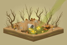 Toxic Waste Dump. 3D Lowpoly Isometric Vector Concept Illustration