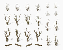 Dried Dead Trees. 3D Lowpoly I...