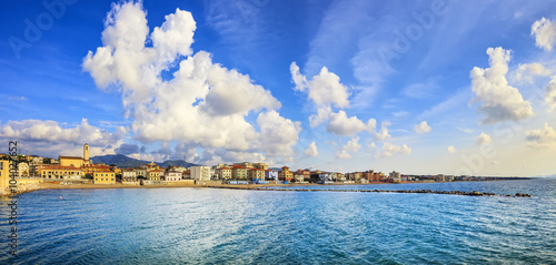 Poster Cote San Vincenzo beach and seafront panoramic view. Tuscany, Italy.