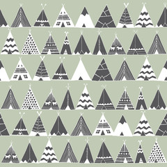 Fototapeta Boho Teepee native american summer tent illustration.