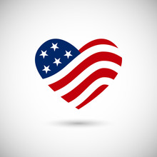 American Flag In Heart Vector ...