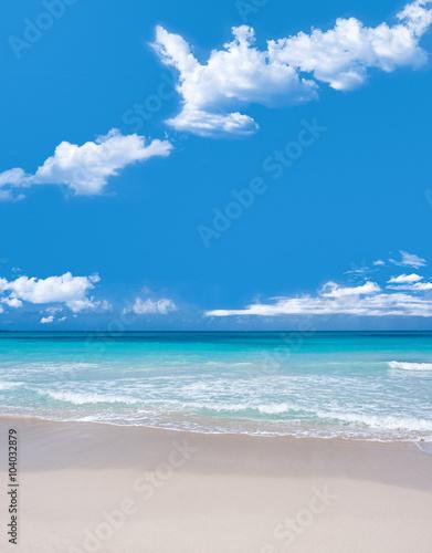 Turkusowe wody i delikatne fale białego piasku karaibskiego beacu