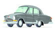 Caricatura GAZ Volga M21 gris vista frontal y lateral