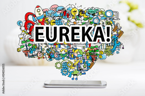 Photo  Eureka concept with smartphone