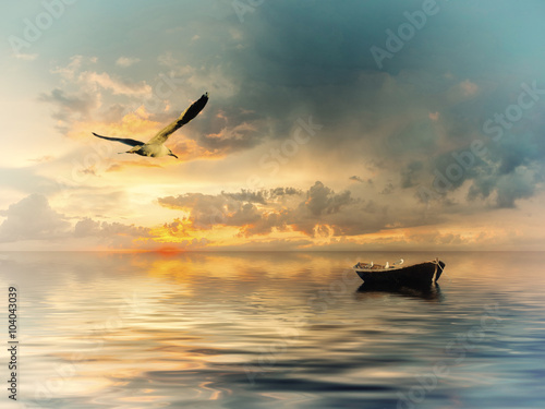 Vintage landscape with boat and birds - 104043039