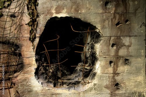 Canvas Print Close up of Hole from an artillery shell in German bunker