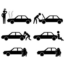 Man Fixing Various Car Problem Icon Sign Vector Symbol Pictogram