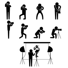 Photographer And Bikini Model During Photo Shoot Session Icon Sign Symbol Pictogram Vector