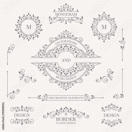 Set of decorative elements. Decorative monograms, borders, frame. Wall mural