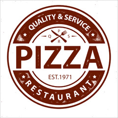 Obraz na PlexiVintage Vector Pizza Logo, Label Stamp isolated on white background