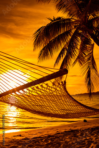 Hammock on a palm tree during beautiful sunset on Fiji Islands Canvas Print