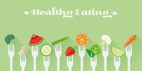 Healthy Eating Concept Vector Illustration. Variety of fruit and vegetables sticked on forks flat design long shadow illustration
