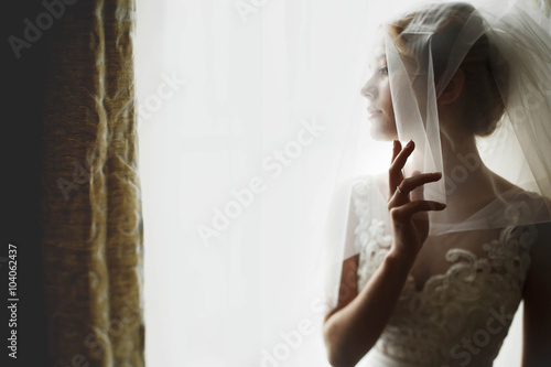 Stampa su Tela stylish luxury gorgeous blonde bride posing on the background ho