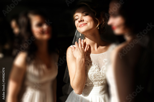 Valokuvatapetti happy stylish gorgeous blonde bride with bridesmaids on the bac