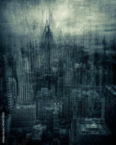 Fototapeta Artistic rendition of New York City with texture and tone