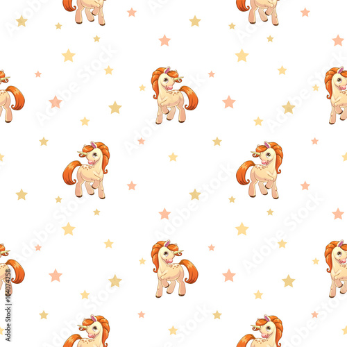 wzor-w-kreskowkowym-stylu-w-pomaranczowe-kucyki-posrod-gwiazdek