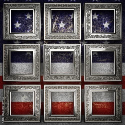 Fototapeta silver background painted to US flag obraz na płótnie