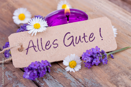 Foto op Canvas Madeliefjes Alles Gute! Grußkarte mit Lavendelblüten