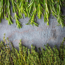 Thyme  And Rosemary Sprigs On The Stone Table Square