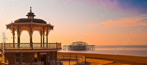 Bandstand and pier. Canvas Print