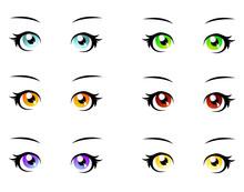 A Set Of Eyes In Manga Style, Isolated On White