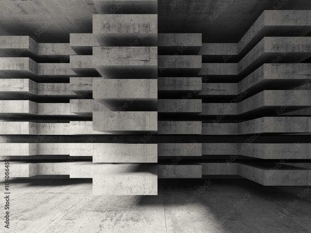 Fototapety, obrazy: Nowoczesny beton 3d, fototapeta przestrzenna 3D