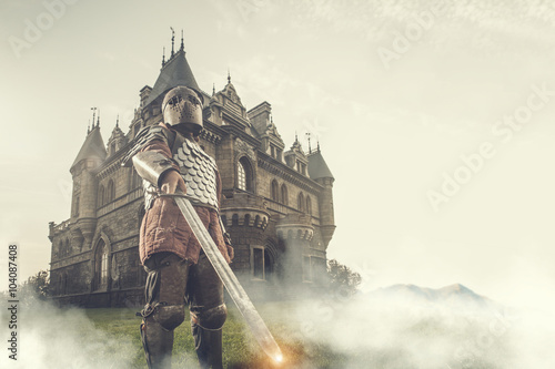 Fotografie, Obraz  Medieval knight with the sword