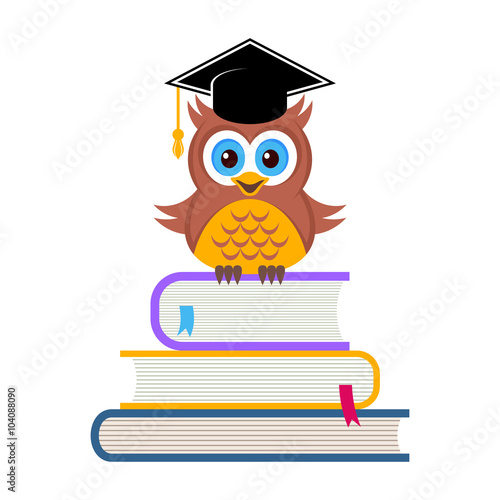 Poster Uilen cartoon Cute owl with graduation hat