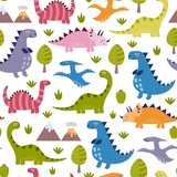 Fototapeta Dino - Cute dinosaurs seamless pattern