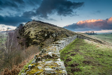 Hadrian's Wall Above Cawfield Crags On The Pennine Way Walking Trail
