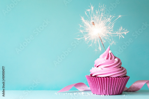 Pink cupcake with sparkler Wallpaper Mural