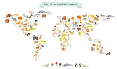 Fototapeta World mammal map silhouettes. Animals world map. Isolated on white background vector illustration. Colorful cartoon illustration for children and other people. Education
