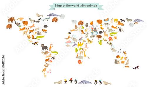 Fototapeta Mapa świata zwierząt