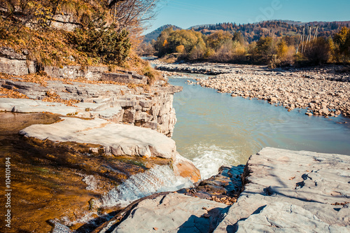 Fotografia, Obraz  Autumn scene landscape of river and forest